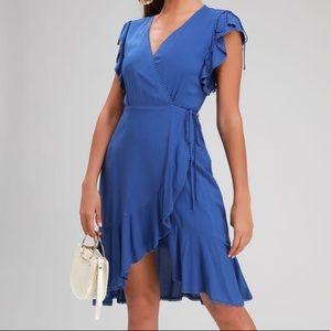 Lulu's adeleine royal blue wrap midi dress
